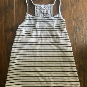Black and white striped tank with patch of lace